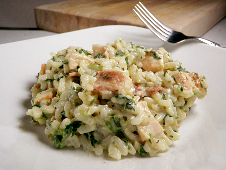 Chicken Risotto with Goat Cheese & Spinach