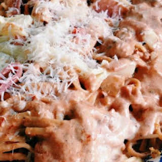 Creamy Tomato Sauce and Spaghetti.
