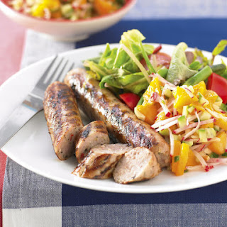Pork Sausages with Peach Salsa.