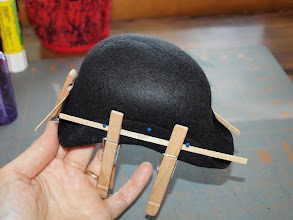 Photo: Another option is to hold the brim in place with craft sticks and clothes pins.   (I left my pins in but you don't need to use them.)