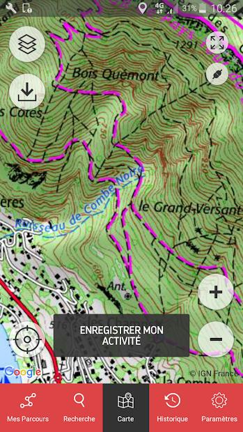 OpenRunner - GPS : bike, hiking, trail and running Android App Screenshot