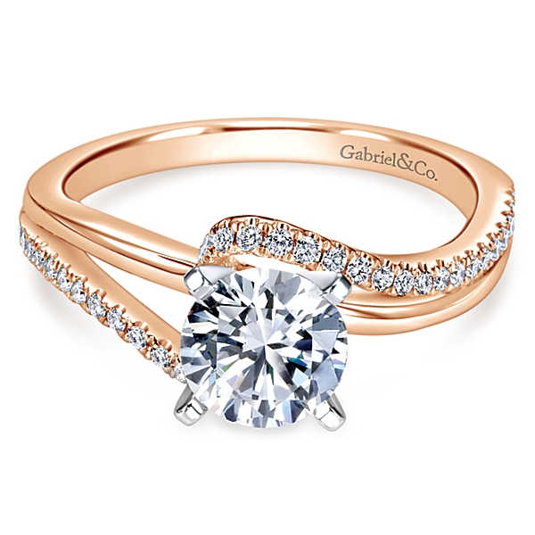 Naomi 14k Rose Gold Round Bypass Engagement Ring by Gabriel & Co.