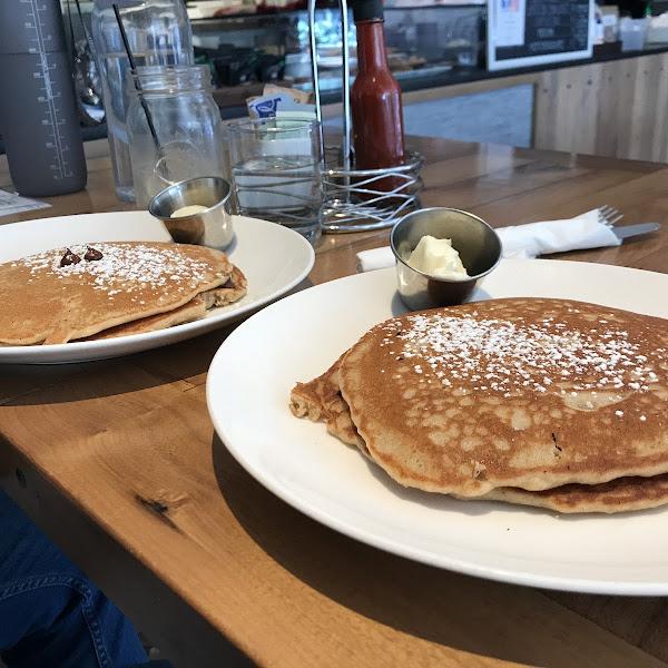 Orginal and chocolate chip pancakes