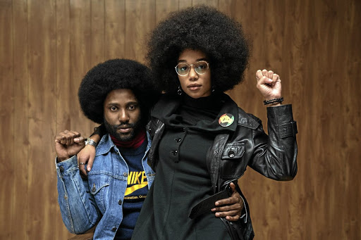 John David Washington as Ron Stallworth and Laura Harrier as Patrice Dumas in 'BlacKkKlansman'.