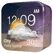 Transparent Glass Clock Widget