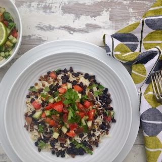 Vegetarian Rice with Lentils, Raisins & Chopped Salad, Persian-Style
