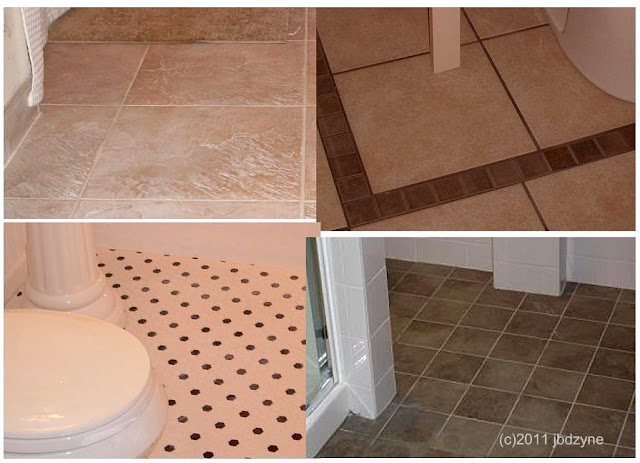 montage of bath tile flooring
