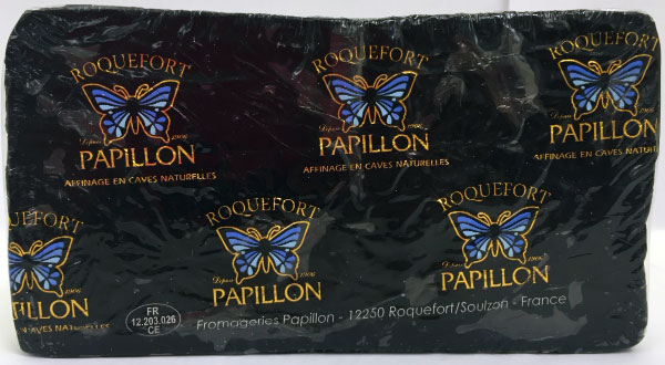 Papillon brand Roquefort cheese - Half wheel