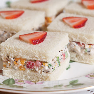 Strawberry–Chicken Salad Tea Sandwiches.