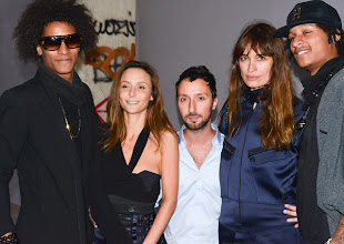 "Photo: Larry ""Ca Blaze"" Bourgeois, Laetitia Crahay, Anthony Vaccarello, Caroline de Maigret, Laurent ""Lil Beast"" Bourgeois, all backstage at Anthony Vaccarello S/S13"