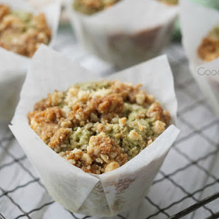 Streusel topped macadamia matcha muffins with almonds - GF