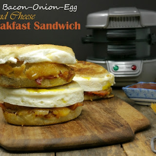 BBQ Bacon-Onion-Egg and Cheese Breakfast Sandwich.