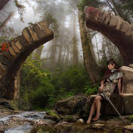 The Golden Gate by Gabriel Mailhot - Digital Art People ( fantasy, girl, forest, fibbonacci, gate, river, sword )