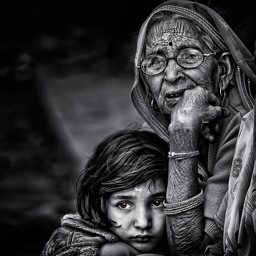 grandmother by Piet Flour - People Family ( love, girl, woman, bw, care, senior citizen, portrait )
