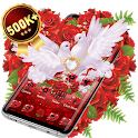 Red Rose Pigeon Heart Theme icon