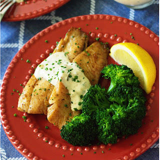 Pan-Seared Tilapia with Homemade Tartar Sauce.