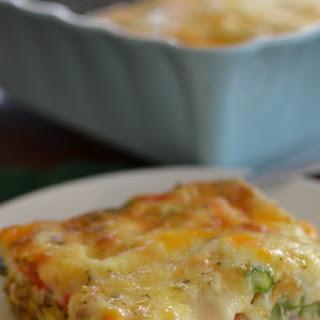 Cheesy Pepper Asparagus Breakfast Casserole.