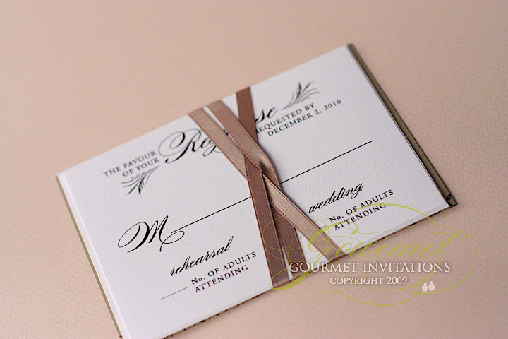 feather invitations, inserts wrapped with ribbon, wedding invitations with ribbon, new year's eve theme wedding invitations