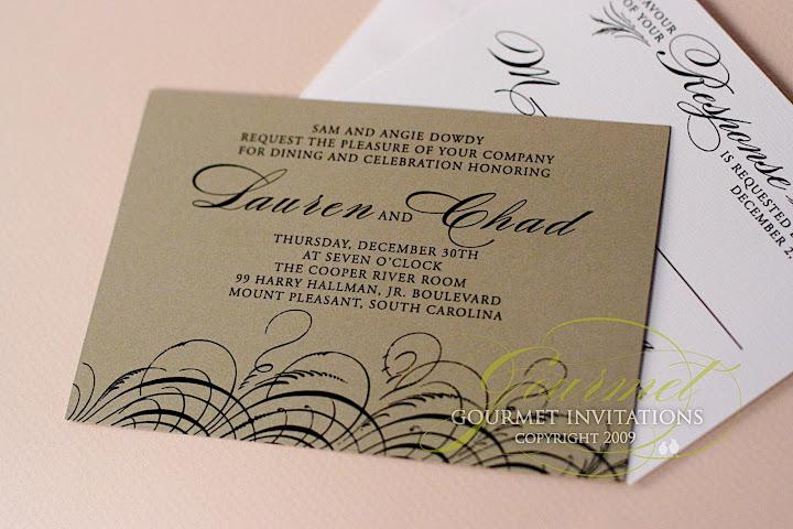 gold wedding invitations, black and gold wedding invitations, feather theme wedding invitations, new years eve wedding invitation