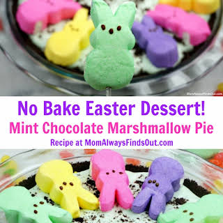 PEEPS® Chocolate Peppermint Marshmallow Pie (No Bake Easter Dessert).