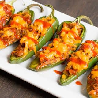 Sriracha-Pulled Pork Jalapeno Poppers.