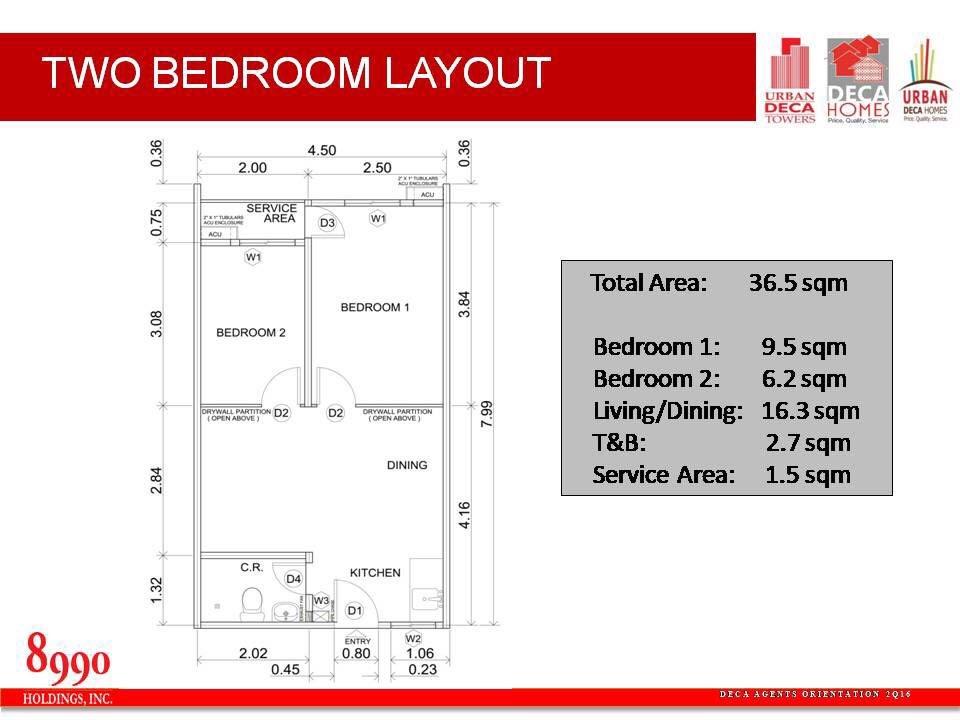 Urban Deca Homes Marilao, Bulacan 2 bedroom floor plan
