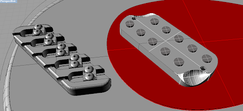 """Photo: The bridge and the temporary pickup. The real pickup will have the thumb recesses kind-of """"float"""" with the pickup body, it won't have any sharp edges and might follow the fretboard radius."""