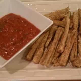 Baked Zucchini Fries with Marinara Sauce.