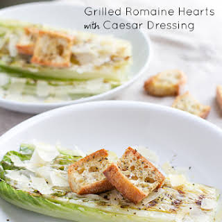 Grilled Romaine Hearts with Caesar Dressing.