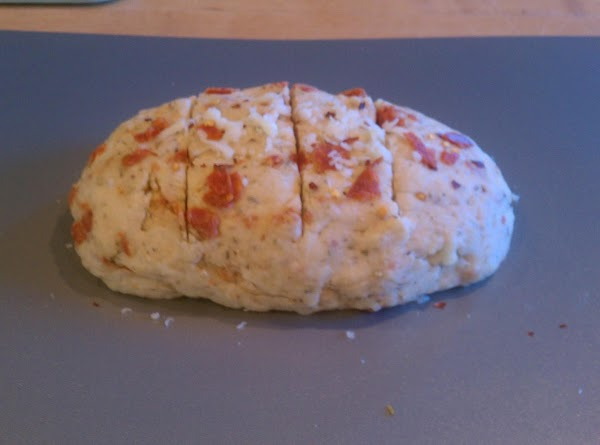 Combine your flour mixture, Cheese, Pepperoni & basil, oregano & red pepper flake to...