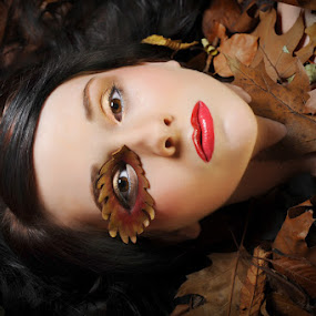 Autumn Puppet by Shaun HODGE - People Fashion ( model, autumn, puppet, red lips, leaves )