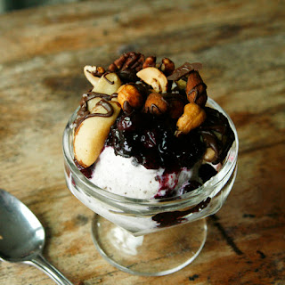 Cookies and Cream Sundaes with Blueberry Sauce and Dark Chocolate Nuts