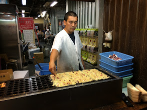Photo: Takoyaki: a little round pastry ball with octopus inside