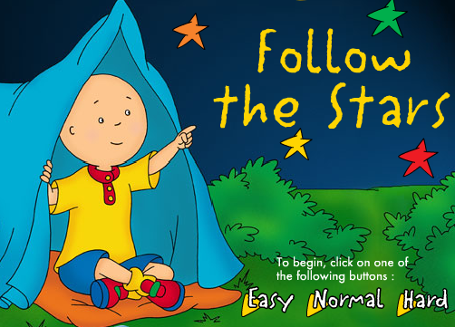 PBS Kids Game Follow the Stars with Caillou