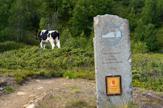 Photo: Sign at the border of Dovre National Park, on the trail from Grimsdalen to Hjerkinn.