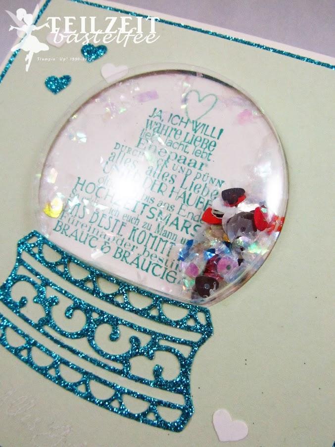 Stampin' Up! - Inkspire_me, Sketch Challenge, Zum schönsten Tag, shaker card, snow globe, Kuchen ist die Antwort, Piece of Cake, Love&Laughter