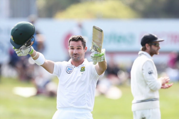 Dean Elgar of South Africa celebrates his century during day one of the First Test match between New Zealand and South Africa at University Oval on March 8, 2017 in Dunedin, New Zealand.