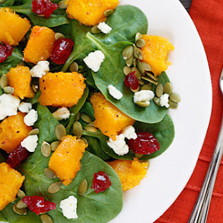 Baby Spinach Salad with Honey Roasted Butternut Squash, Pumpkin Seeds, Gorgonzola and Dried Cherries Recipe