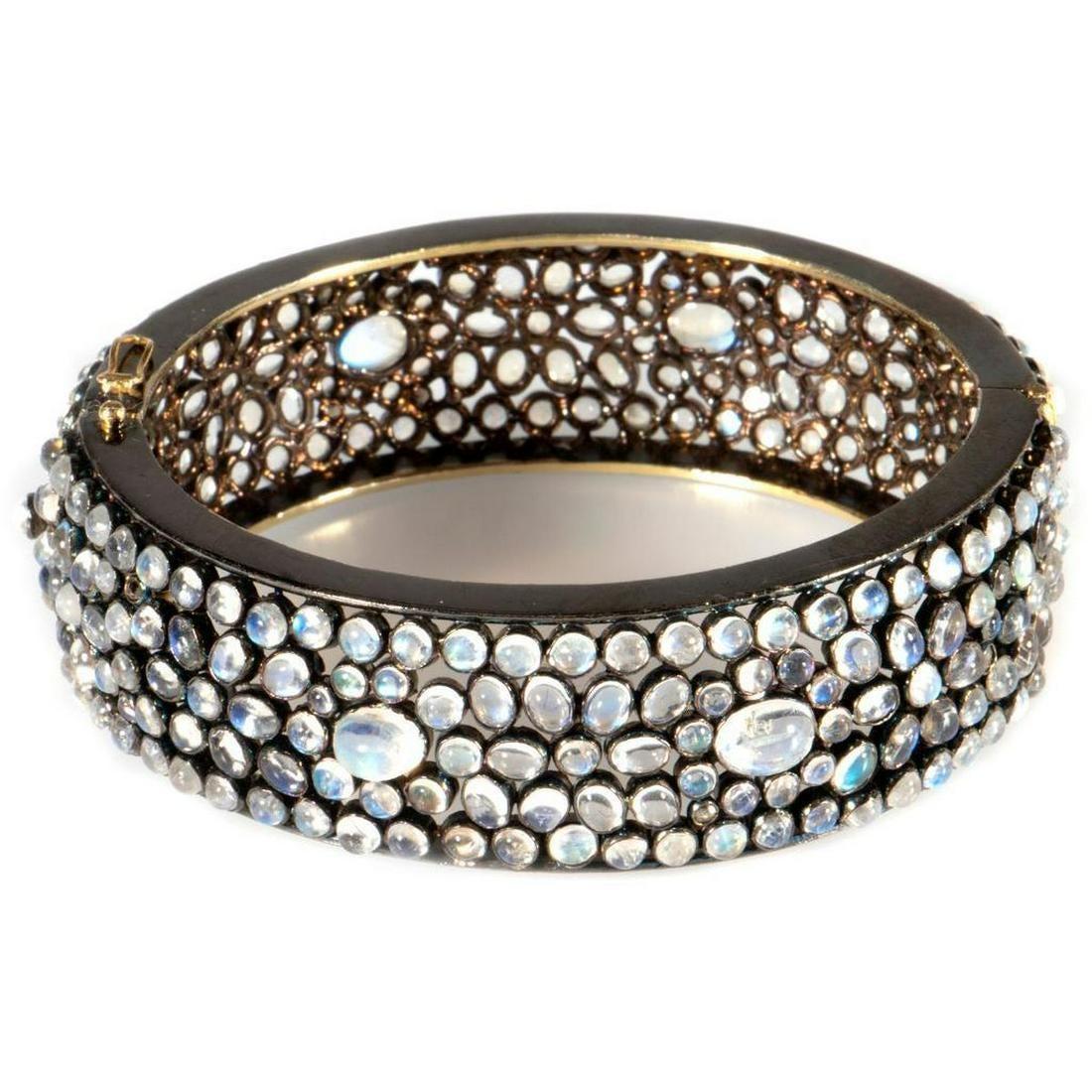 Moonstone, blackened silver, 14k gold bangle bracelet