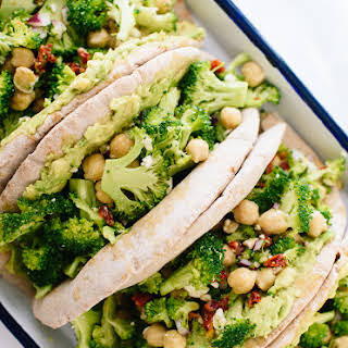 Broccoli Chickpea Pita Sandwiches.