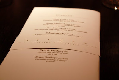 Menu for Dinner by Heston Blumenthal restaurant in London