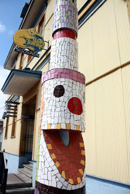 Mosaic lamp post in Valparaiso Chile