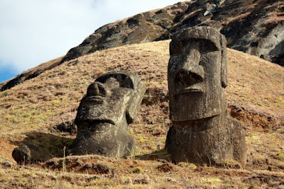 Moai at the Rano Raraku quarry on Easter Island