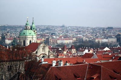 View of the city from Castle Hill in Prague Czech Republic