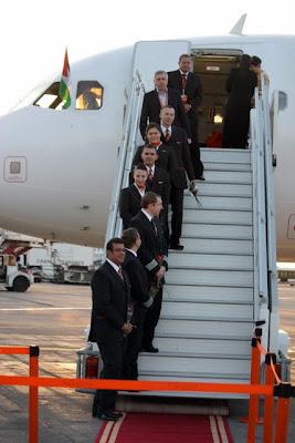 easyJet flight attendants lining the stairs after easyJet's inaugural flight from London to Amman Jordan