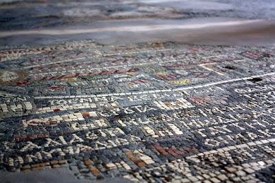Mosaic on the floor of the Greek Orthodox church in Madaba Jordan
