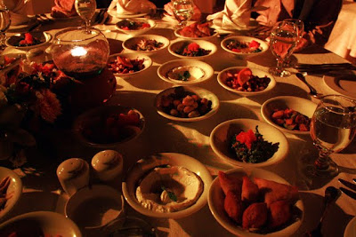 Mezze dinner at a restaruant in Petra on the Petra by Night tour in Jordan