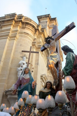Good Friday procession by a church in Rabat Malta