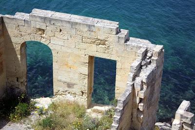 Ruins of a building on the sea in Valletta Malta