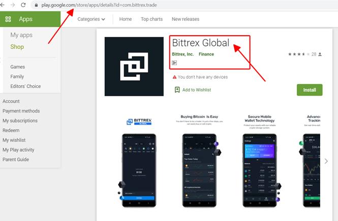 Tải APP Bittrex ở kho ứng dụng Google Play